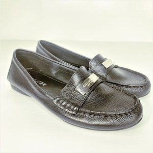 Coach Fredrica Black Leather Loafer Driving Shoe